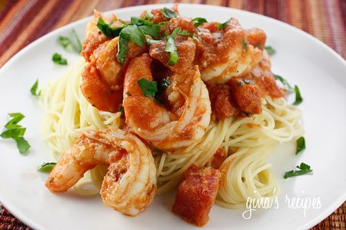 Angel Hair with Shrimp and Tomato Sauce