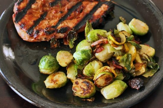 Brussels Sprouts With Yellow Squash & Bacon
