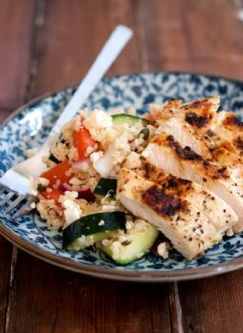Mediterranean Quinoa Salad with Grilled Cumin Chicken