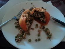 Spinach and Pesto Stuffed Tomatoes with Ground Chicken Breast
