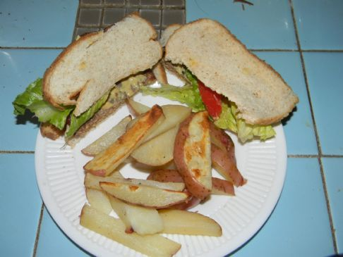 Low Calorie Grilled Burger and Fries