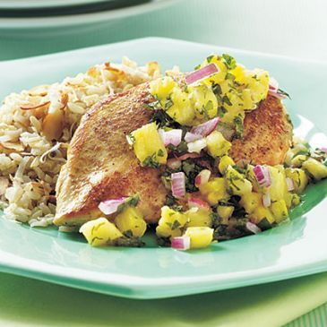 Cumin-Seared Chicken with Pineapple-Mint Salsa