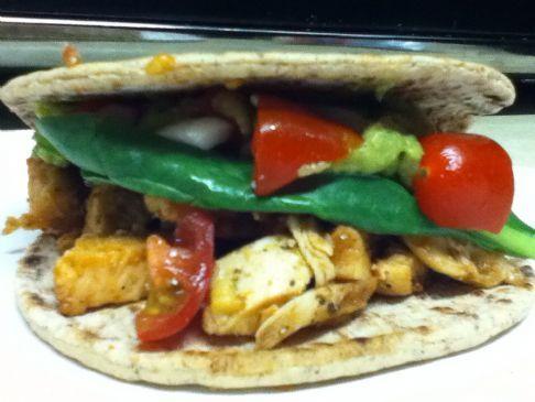 Tex~Mex BBQ Chicken Flat Bread Sandwich