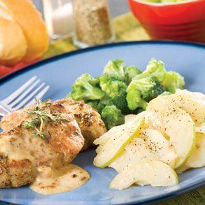 Dijon Thyme Pork, Scalloped Potatoes & Broccoli