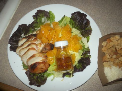 Salad with Chicken, Orange, Wheat Croutons, Parmesan & Vinaigrette