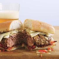 Lean Beef & Sausage Burgers W/ Pickled Fennel 'n Pepperonata