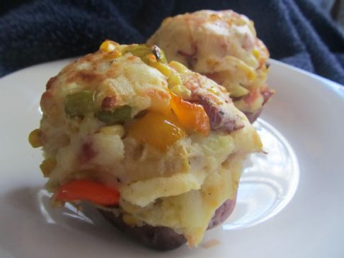 Twice Baked Potatoes with Ham & Corn
