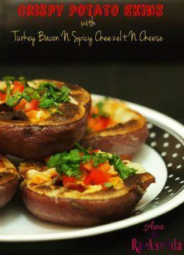 Crispy Potato Skins | Turkey Bacon N Spicy CheezeIt Cheese
