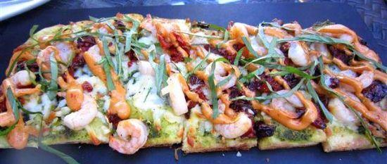 Pesto Shrimp Flatbread