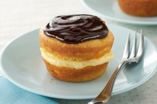 Reduced Sugar Boston Cream Cupcakes