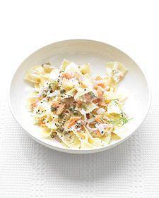 Martha Stewarts Pasta with Smoked Salmon and Cream Cheese (lightened)