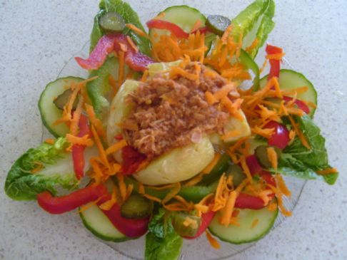Potato Tuna and Salad Snack.