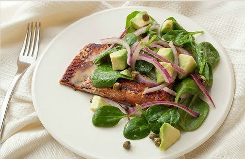 Seared Salmon with Avocado, Onion, and Fresh Spinach Relish