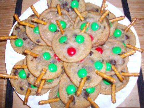 Reindeer Chocolate Chip/M&M Cookies