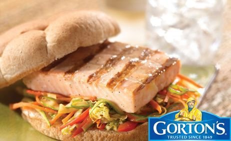Classic Grilled Salmon Burgers with Sesame Ginger Slaw	from Gorton's®