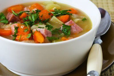 Ham and Navy Bean Soup with Veggies