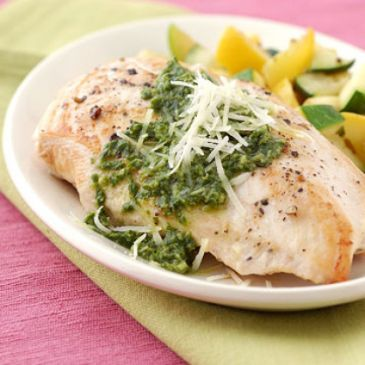 Pesto Chicken Breasts with Summer Squash