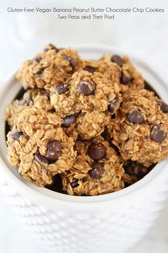 Gluten-Free Vegan Banana Peanut Butter Chocolate Chip (raisin) Cookies