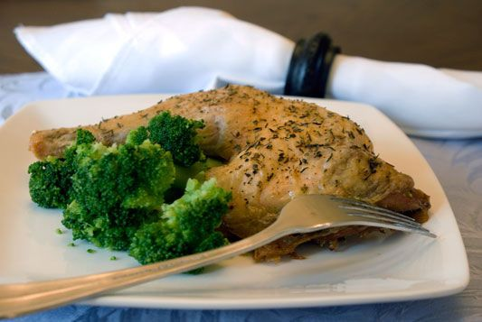 Herb Roasted Chicken Leg Quarters in Wine Sauce