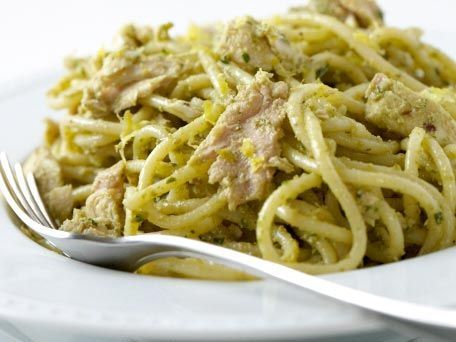 Spaghetti with Tuna & Green Olive Pesto