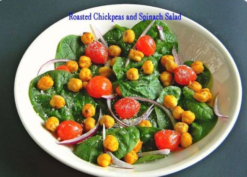 Roasted Chickpeas and Spinach Salad