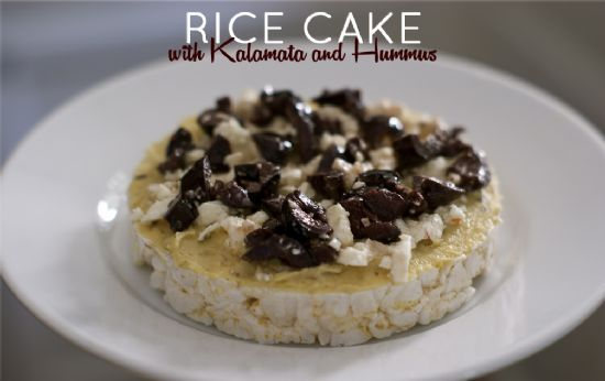 Rice Cake with Kalamata and Hummus