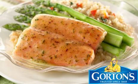 Simply Bake Salmon with Asparagus and Rice Pilaf from Gorton's®
