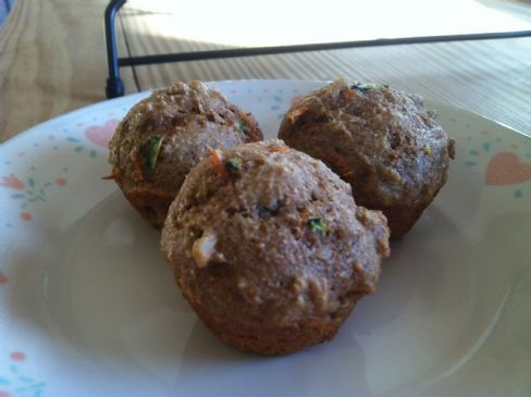 zucchini, carrot & walnut mini muffins