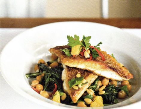 Crispy Skinned Fish with Orange, Parsley & Pine Nut Salad