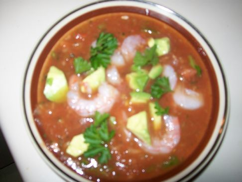 Gazpacho with Shrimp and Avocado