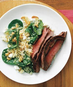Peppered Beef Breakfast Steak Over Wilted Spinach