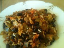 black beans  and browen rice salad