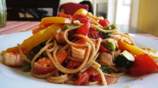 Whole  Wheat Pasta with Shrimp & Veggies