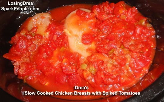 Drea's Slow Cooked Chicken Breasts with Spiked Tomatoes and Cut Green Beans