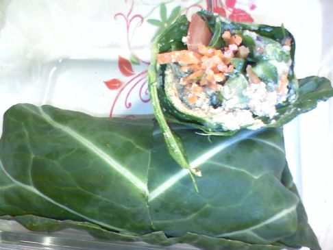 Raw Swiss Chard Veggie Wraps With Creamy Pecan Spread.