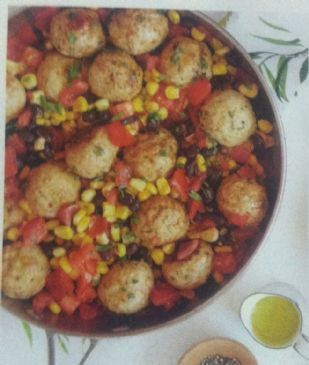 Southwest Meatballs W Corn-Black bean Salsa