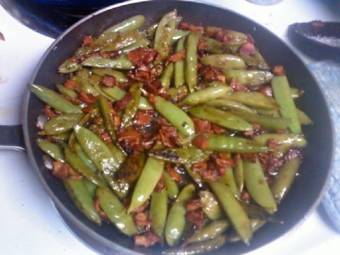 Bacon and Balsamic Glazed Sugar Snap Peas