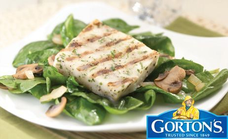 Grilled Fillets on a Bed of Mushrooms and Spinach from Gorton's®