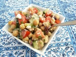Cucumber and Tomato Salad with Marinated Garbanzo Beans, Feta, and Herbs