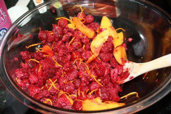 Raspberry Peach Oatmeal Crisp