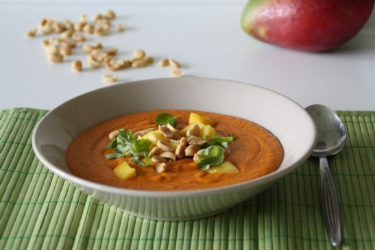 Red Pepper Mango Thai Soup with Peanuts