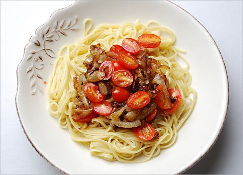 Caramelized Onions and Tomatoes over Pasta