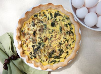 Light Spinach and Mushroom Quiche