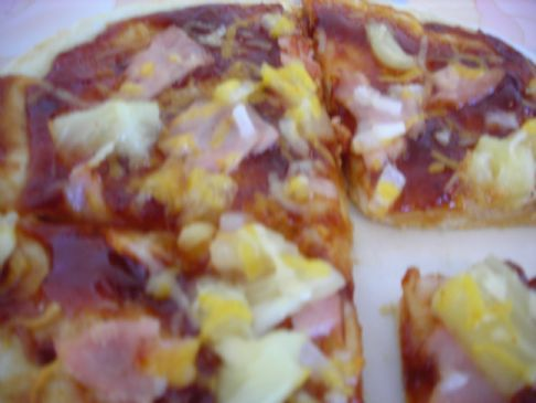 Barbecue, Pineapple and Canadian Bacon Flatout Pizza
