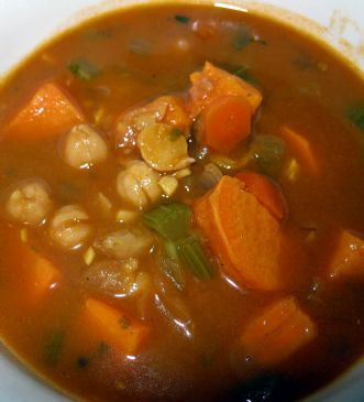 Kari's Spicy Peanutty Chickpea and Sweet Potato Soup