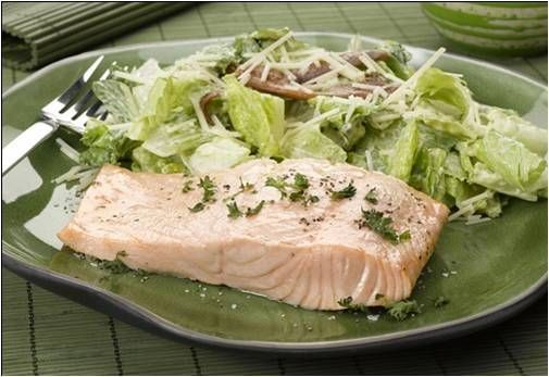 Caesar Salad Poached Salmon