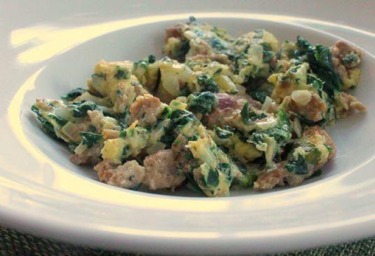 Sausage & Spinach Egg Scramble