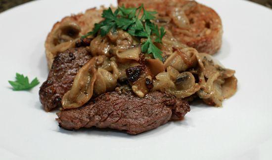 L.R. Elk steaks in mushroom gravy