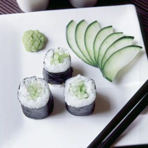 Cucumber Avocado Wasabi Sushi Roll