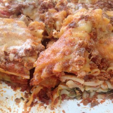 Lasagna with beef sauce and spinach